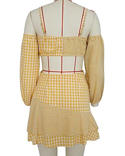 2 Pices Ensemble Femme Spaghetti Strap Manches Longues Tops Mini Jupe Jaune