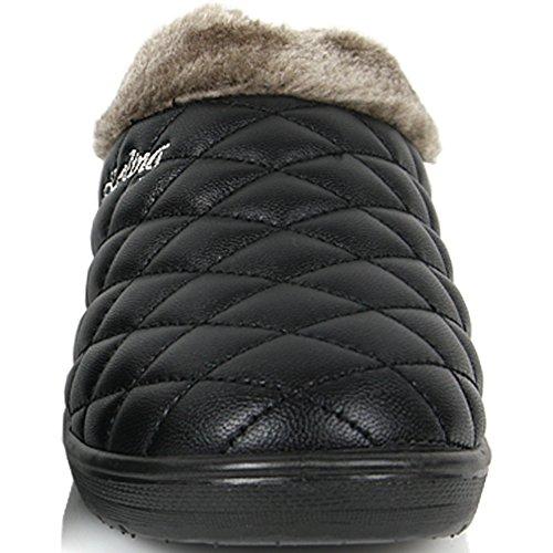 Nieuwe Comfort Winter Warme Dames Casual Mule Slip Op Loafer Slide Slipper Schoenen Zwart