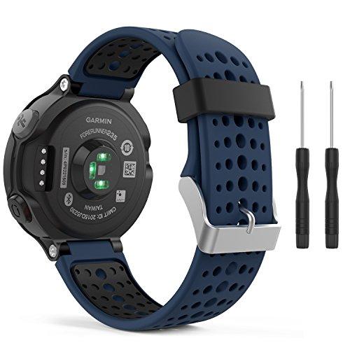 (MoKo Garmin Forerunner 235 Watch Band, Soft Silicone Replacement Watch Band for Garmin Forerunner 235/235 Lite / 220/230 / 620/630 / 735XT - Midnight Blue & Black)
