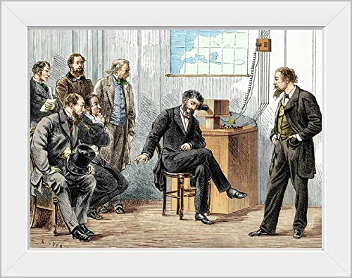 CANVAS ON DEMAND Bell's First Long-Distance Telephone Call White Framed Art Print, 19