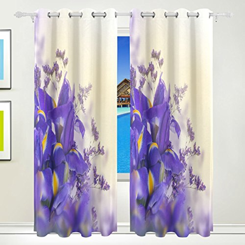 Home Care Ethel Ernest Purple Iris Hydrangea Bouquet Window Blackout Curtains With Grommet, 55W x 84L Inch, Darkening Blind Insulated Sun-proof Curtains for Bedroom,Living Room,Including 2 Panels