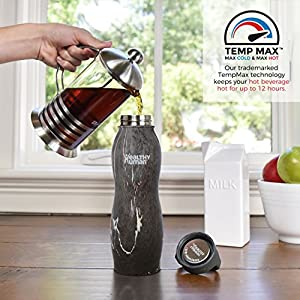 Healthy Human Curve Stainless Steel Insulated Travel Sports Water Bottle Thermos - BPA Free Cap with Hydro Guide & Carabiner Set - Black Onyx - 21 oz