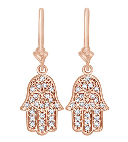 Round White Natural Diamond Hamsa Hand Charm Dangle Earrings in 14k Solid Rose Gold (0.50 Cttw) by AFFY