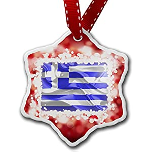 Amazoncom Christmas Ornament Greece 3D Flag red  Neonblond