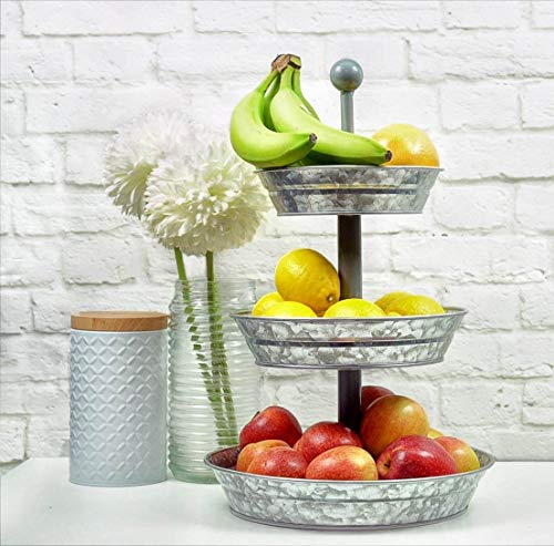 3 Tier Serving Tray - Galvanized, Rustic Metal Stand. Dessert, Cupcake, Fruit & Party Three Tiered Platter. Country Farmhouse Vintage Decor for the Kitchen, Home, Farm & Outdoor by Hallops by Hallops (Image #3)