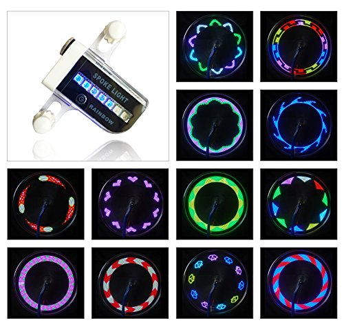 AIKELIDA Bike Wheel Lights - Waterproof Ultra Bright 14 LED Bicycle Wheel Spoke Decorations Light - 30 Different Patterns Change - Colorful Bicycle Tire Accessories - Easy To - Bike Mountain Trends