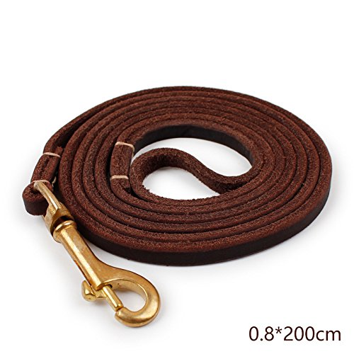 Mew Premium Heavy Duty Leather Dog Leash Soft and Cowhide Leather for Large and Medium Dogs Walking Training Leads
