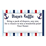 Nautical Diaper Raffle Cards for a Baby Shower - 50...