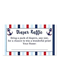 Nautical Diaper Raffle Cards for a Baby Shower - 50 Count BOBEBE Online Baby Store From New York to Miami and Los Angeles