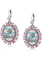 "Betsey Johnson ""Anchors Away"" Anchor Striped Cameo Drop Earrings"