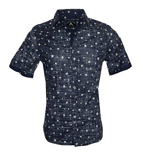 Rock Roll-n-Soul Men's Short Sleeve Skull Button Down Shirt Navy RRMW212SSN (XL) -