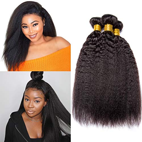 - Yaki Kinky Straight Hair 3 Bundles Unprocessed Brazilian Virgin Hair Sew In Human Hair Extensions Bulk Hair Bundles Tangle Free Real Human Hair Weave Deals Natural Black Mixed-Length(12 14 16 Inch)
