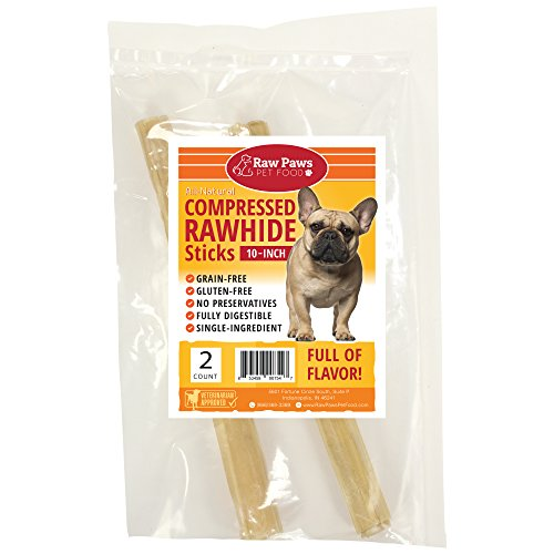 Raw Paws Pet Premium 10-inch Compressed Rawhide Sticks for Dogs, 2-count - Packed in the USA - Natural Beef Hide Dog Chews - Rawhides for Medium Dogs and Large Dogs - Safe Pressed Rawhide Rolls by Raw Paws