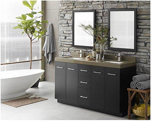 Distressed Nickel Fairmont Single Handle (RONBOW Arden 61 inch Bathroom Vanity Set in Black, Double Bathroom Vanity with Top and Backsplash in Green with Single Faucet Hole and Bathroom Mirrors, White Ceramic Vessel Sink)