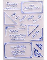 LZBRDY Birthday Wishes Words Clear Rubber Stamps for Scrapbooking Card Making Square Floral Message Box Silicone Stamps