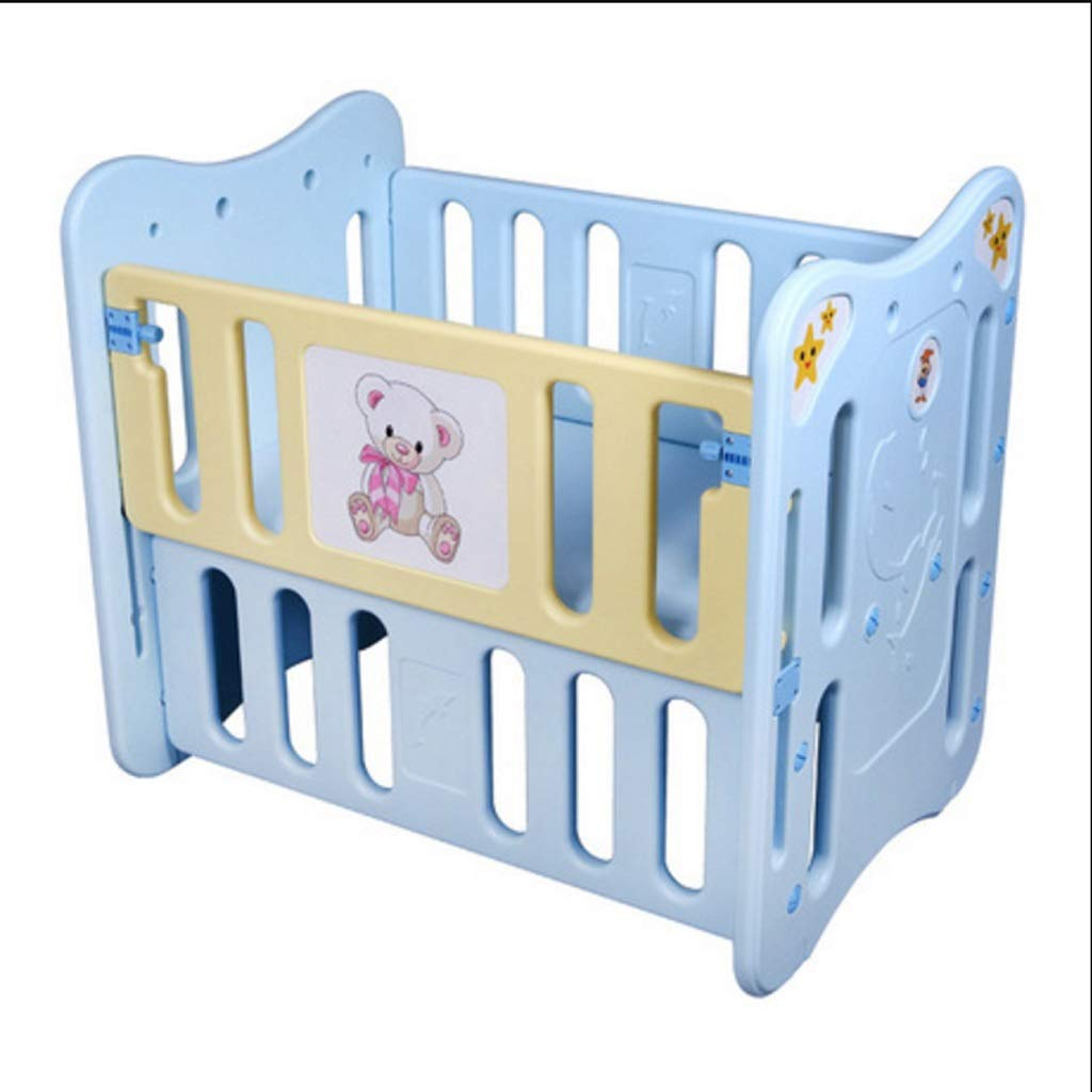 piaoling Compact Crib Baby Crib Plastic Baby Bed Baby Cot Can Be Table with Roller Bed para Multifuncional Creative Baby Bed Cradle Portable (Color : Blue) by piaoling