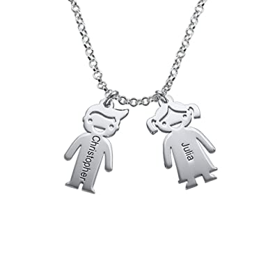 798fd8a70 Two Engraved Children Charm Necklace in Sterling Silver: Amazon.co.uk:  Jewellery