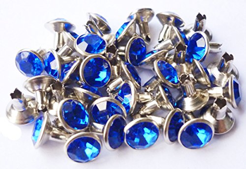 40set 6.5mm Blue Sapphire Synthetic Crystal Rivets Leather Craft (Crystal Rivets)