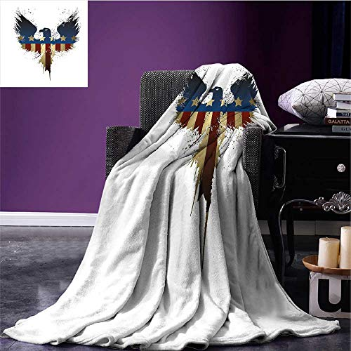 lannel Blanket The American Flag on Silhouette of National Bird of The Country Majestic Animal Queen Size Blanket Blue Red Sepia Bed or Couch 62