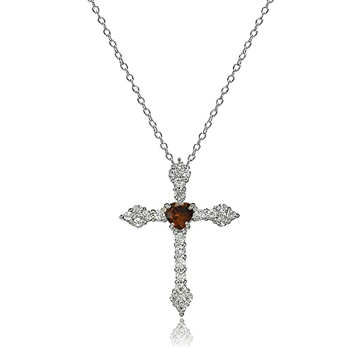 Lovve Sterling Silver Gemstone Heart White Topaz Orthodox Cross Necklace