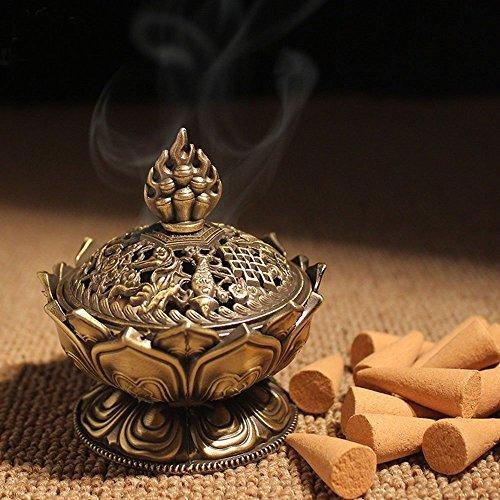 XIDUOBAO Lotus Flower Incense Burner Alloy Metal Buddha Incense Burner Holder Candle Holder Censer- Buddhist Decor,Home Decoration. (L)
