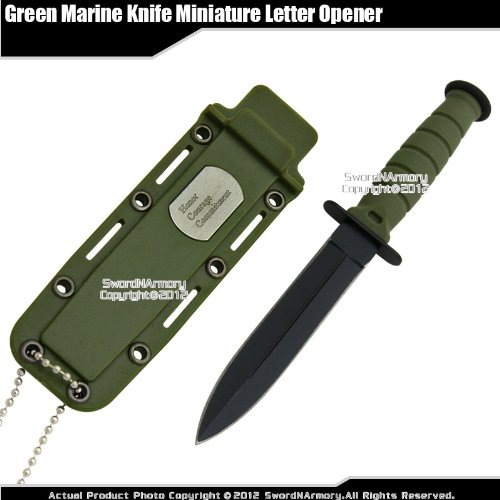 Etrading Fixed Blade Marine Combat Knife Miniature Letter Opener with Chain & Sheath GN For Sale