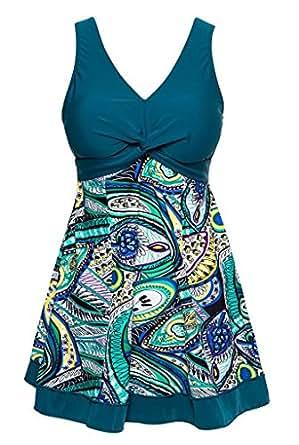Wantdo Women's Plus Size Swim Dress Modest Swimsuit