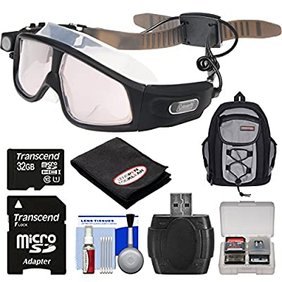 Coleman VisionHD G7HD-SWIM 1080p HD Action Video Camera CamcorderWaterproof POV Swimming Goggles with 32GB Card + Backpack + Anti-Fog Cloth + Reader + Kit