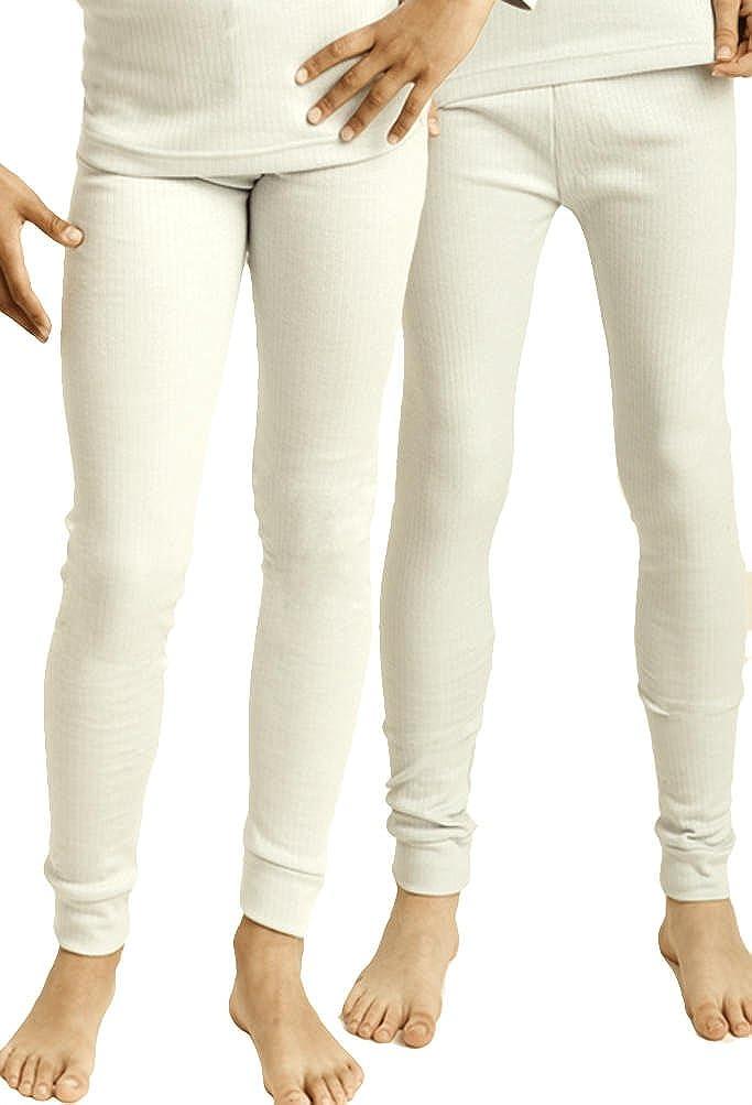 2 Stück lange Kinder Thermo Unterhosen oder Thermo-Unterhemden für Kinder, innen angeraut, kuschelig warm, Farben: creme, grau, hellblau Gr. 122/128 bis 158/164