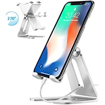 Cell Phone Stand, iPad Mini Stand, Comsoon Universal Adjustable Holder, Cradle, Charging Dock for all Smartphone, iPhone X/8 Plus, Note8, Switch & Kindle Reading, Facetime & Live Stream (Sliver)