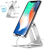 Cell Phone Stand, iPad Mini Stand, Comsoon Universal Adjustable Holder, Cradle, Charging Dock for all Smartphone, iPhone X/ 8 Plus, Note8, Switch & Kindle Reading, Facetime & Live Stream (Sliver)