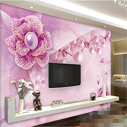 LHDLily 3D Wallpaper Mural Wall Sticker Thickening Custom Photo Purple Flower Jewelery Tv Wall Backgroundwall Paper For Walls3D 300cmX200cm by LHDLily