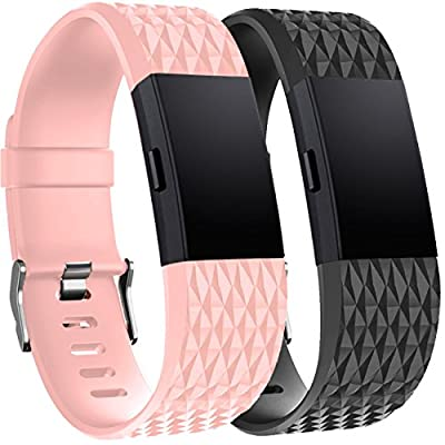 Tobfit Fitbit Charge 2 Replacement Bands (2 Pack), Soft Material Charge 2 Accessories Wristbands, Special- Black, Blush Pink, Large