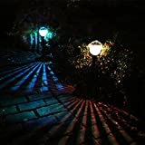 Transer 2pc Solar Color-changing LED Waterproof Stainless Steel Outdoor Lamp Power Yard Garden Light (Multicolor)