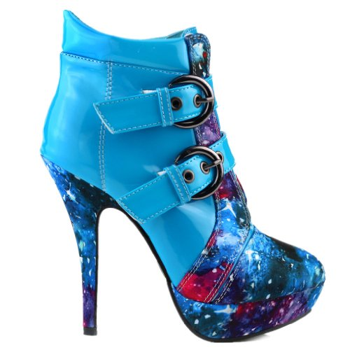 Show Story Blue Buckle Night Sky High Heel Stiletto Platform Ankle Boots,LF30301BU40,9US,Blue