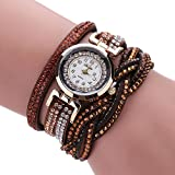 Womens Bracelet Watches COOKI Clearance Ladies Watches Female Watches on Sale Leather Watch-Q41 (brown)