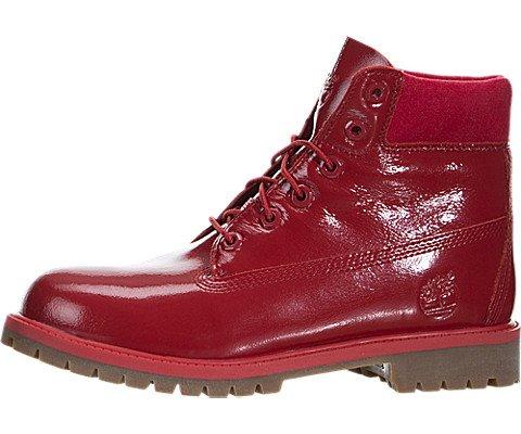 Timberland Big Kids 6 Inch Premium Red Shinny Boots, - Red Shinny