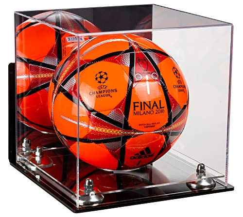 Deluxe Acrylic Soccer Ball Display Case with Mirror, Wall Mount, Silver Risers and Clear Base (A027-SR)