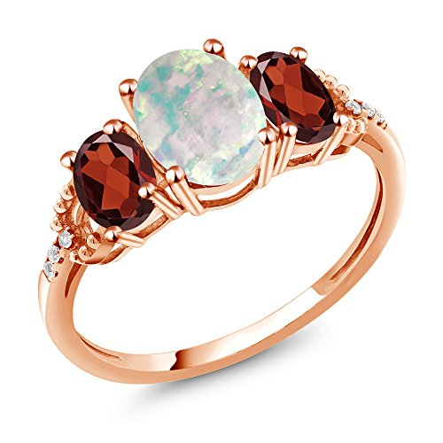 2.09 Ct Cabochon Simulated Opal Red Garnet 10K Rose Gold Diamond Accent Ring (Size 7)