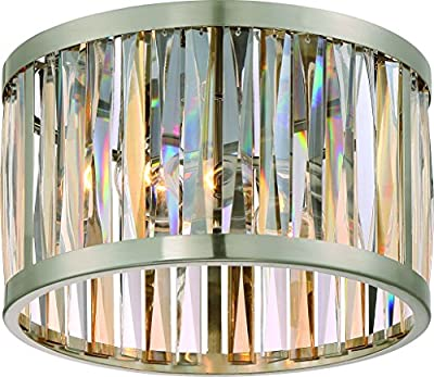"""Luxury Crystal Ceiling Light, Small Size: 8""""H x 13.25""""W, with Modern Style Elements, Drum Design, Brushed Nickel Finish and Alternating Cut Amber and Clear Glass Shade, UQL2572 by Urban Ambiance"""