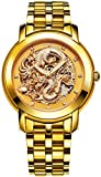 BOS Men's 'Dragon Collection' Luxury Carved Dial Automatic Mechanical Bracelet Waterproof Gold Watch 9007