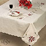 Lenox French Perle Poinsettia Embroidered Design Christmas Tablecloth 60'' x 84''