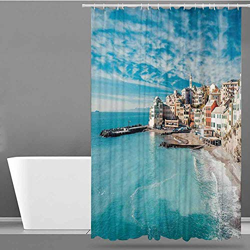 - VIVIDX Fabric Shower Curtain,Italy,Panorama of Old Italian Fishing Village Beach in Old Province Coastal Charm Image,Fabric Shower Curtain Bathroom,W60x72L Turquoise