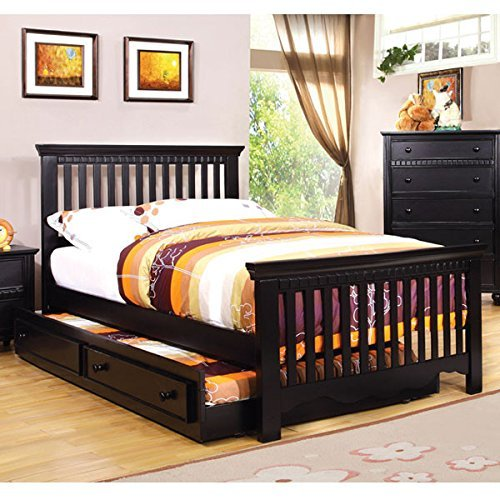 Castillian cottage style black finish twin size bed frame for Full size bed frame
