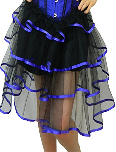 Burlesque Style Dance Costumes (Yummy Bee Womens Long Frilly Tutu Skirt Burlesque Costume Blue Size 2 - 4)