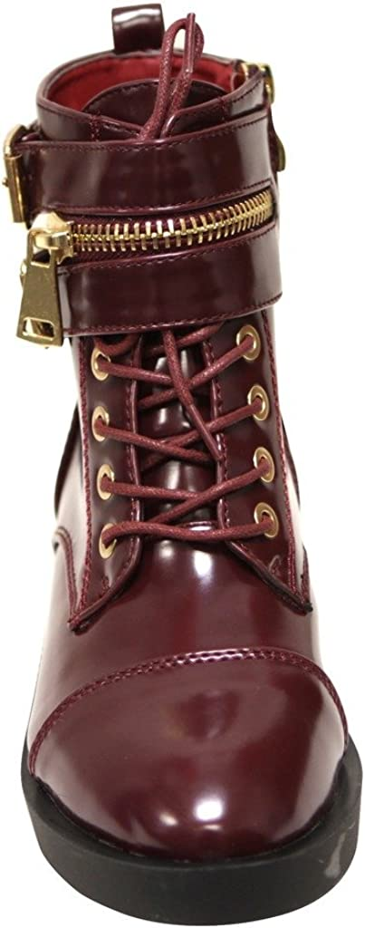 Bella Marie Icon-10 Womens Almond Toe Stacked Heel lace up Golden Zip Decor Buckle Straps Patent Ankle Boots