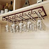 Under Cabinet Wine Hanging Shelves 5 Slots,Vintage Wine Glass Rack,Organizer Storage Cup,Goblet Drying Shelf,Stemware Holder for Home Bar,Holds up to 10-15 Glasses(Bronze) - MZGH ISLAND
