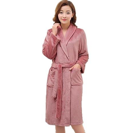 DMMSS Las se?oras camisones batas larga gruesa lana Coral termal pijamas de franela ,