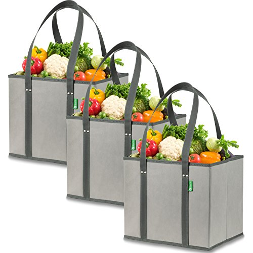 (Reusable Grocery Shopping Box Bags (3 Pack - Gray). Large, Premium Quality Heavy Duty Tote Bag Set with Extra Long Handles & Reinforced Bottom. Foldable, Collapsible, Durable & Eco Friendly)