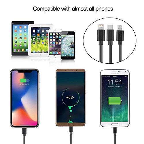 High Speed Car Charger Adapter SDKJ SXYZ-03 Quick USB Car Charger 3 in 1 Charging Cable,Compatible Most Cell Phones//Other Mobile Devices Black